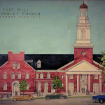 mock up painting of fort hill church sanctuary from 1955
